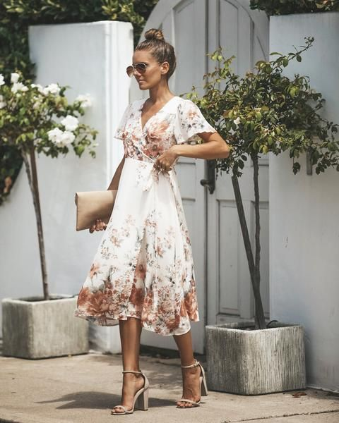 9f2c8009f91ee Our Vienna Floral Wrap Midi Dress exudes class in this modest length and  true wrap silhouette. We love the delicate flutter sleeves and the nude  color with ...
