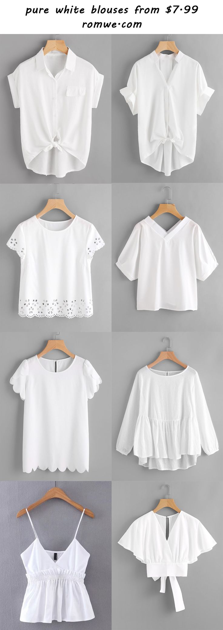 pure white blouses 2017 - romwe.com