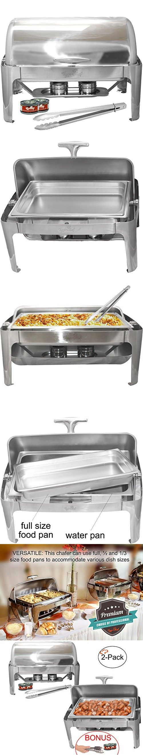 Tiger Chef Stainless Steel Roll Top Chafer, 8 Quart Chafing Dish Set with 2 Chafing Dish Fuel Gels and a 16-Inch Stainless Steel Multi-Function Tong (2)