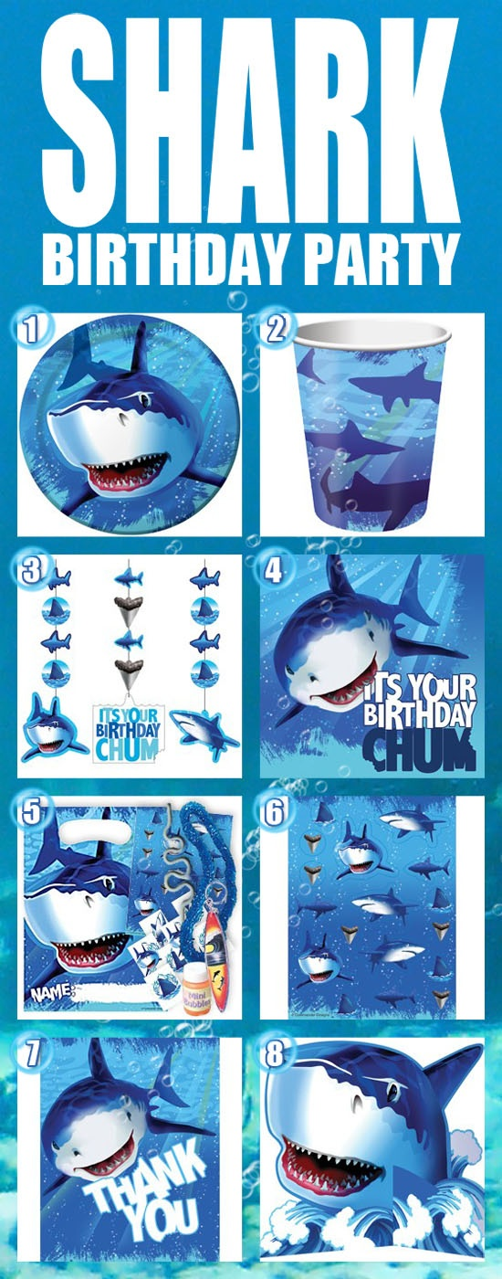 "Chomp! 8 ""Killer"" Shark Party Supplies!  For more Shark party supplies, head on over to our Shark page: http://www.discountpartysupplies.com/boy-party-supplies/shark-party-supplies"