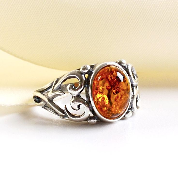 Stylish Amber & Silver Ring / The Russian Store website / Lots of AMBER to choose from at great prices !