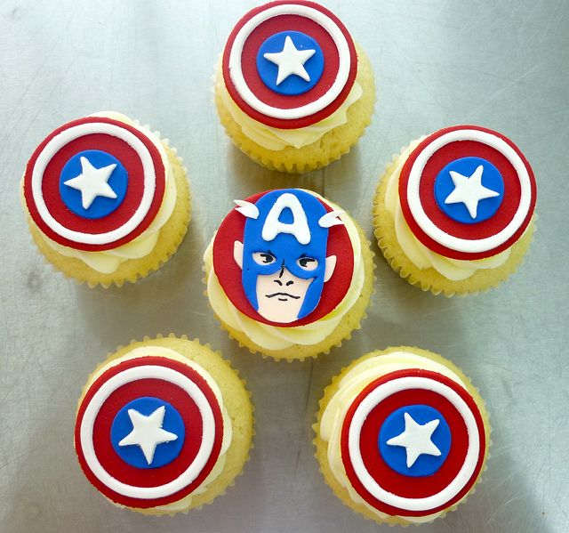 For Ethan - Captain America Cupcakes by Coco Cake Co., via Flickr