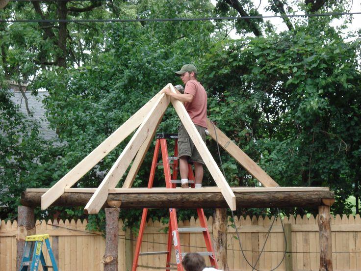 Tiki Hut Roof In Progress Backyard Tiki Bar Tiki Hut