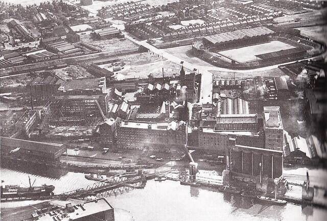 Aerial view of Manchester with Old Trafford in top right corner, 1910.