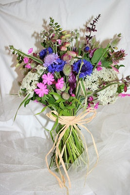 just an idea if you would like a seasonal wild flower bouquet these are the colours you get around Jersey around June. Not so beachy though if you really want that look but could try for more pared down colours