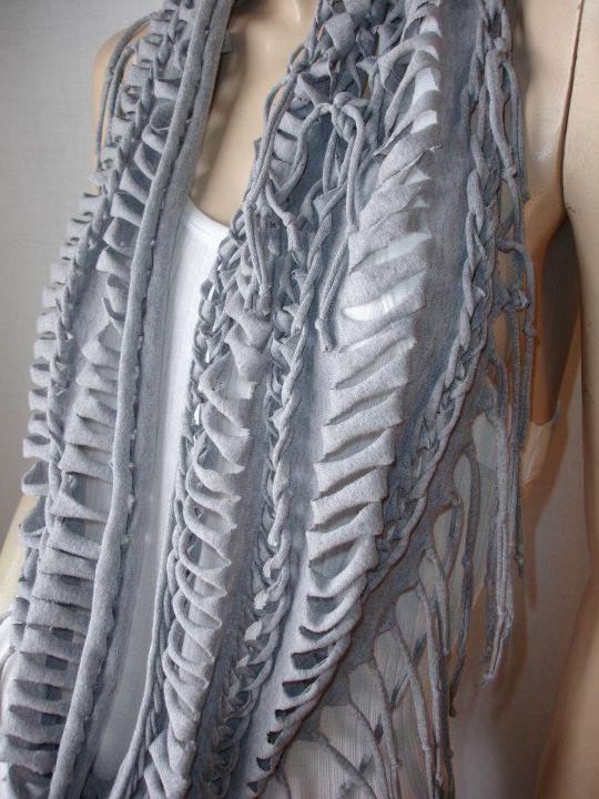 shredded, braided, fringed, recycled tshirt scarf