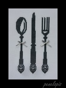 cutlery cross stitch w/ free chart