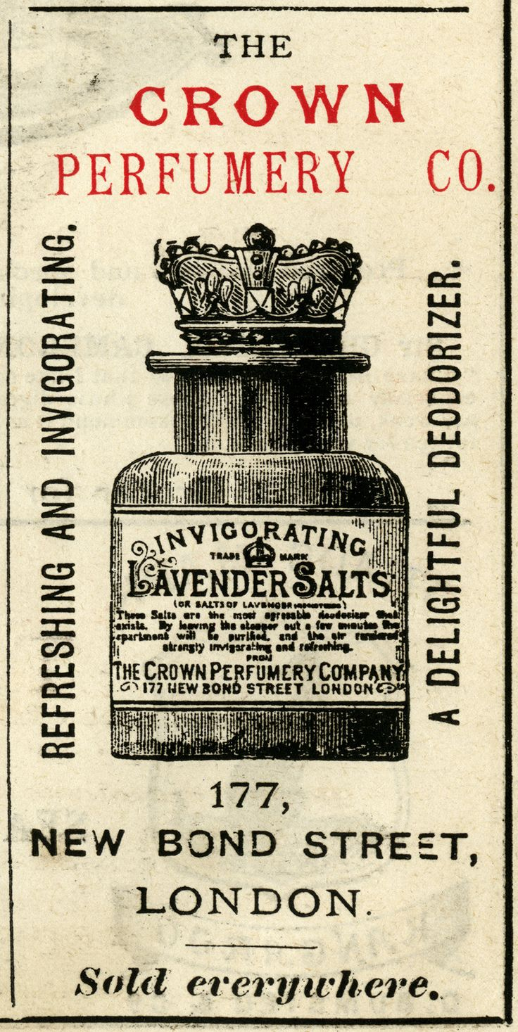 Crown Perfumery Co. Lavender Salts ~ Free Vintage Advertising fun for image transfer!  Print in reverse on a laser printer and transfer onto your project with Artisan Enhancements Image Transfer Gel!