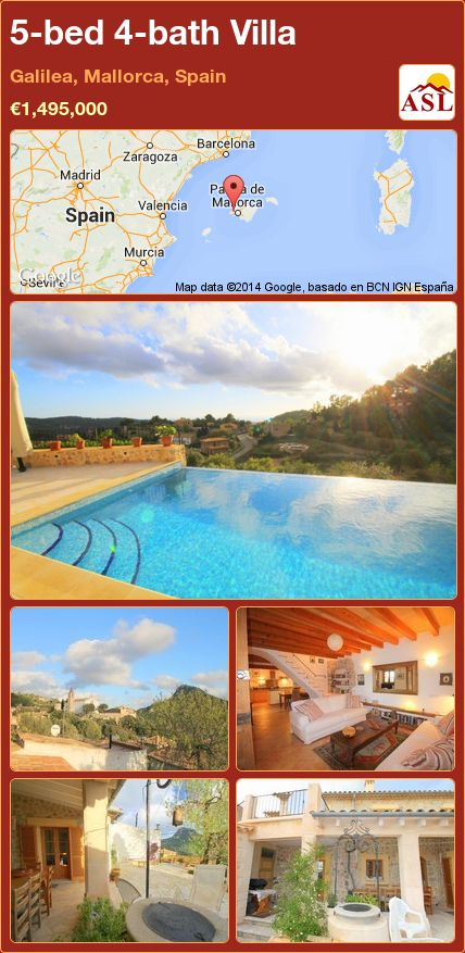 5-bed 4-bath Villa in Galilea, Mallorca, Spain ►€1,495,000 #PropertyForSaleInSpain
