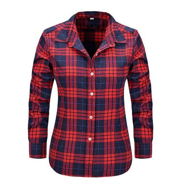 2016 New Fashion Girl's Plaid Flannel Shirt Female Long-sleeved Plaid Shirt Ladies Large Size Women's Tops