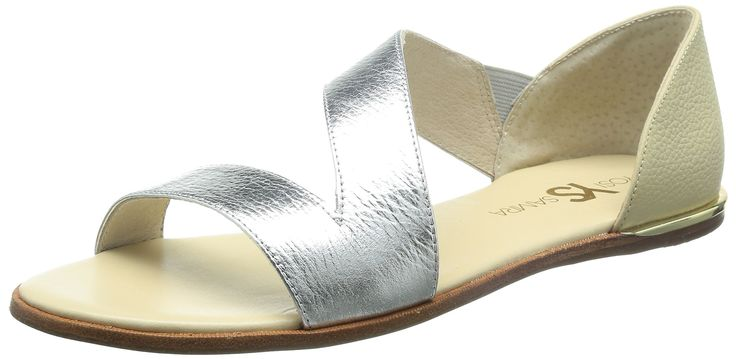 Yosi Samra Women's Casey Crossover Leather Sandal Silver/Biscotti Sandal 10 M. Cushioned footbed. Goldtone ornament at heel. Leather upper and lining/rubber sole. By Yosi Samra; imported.