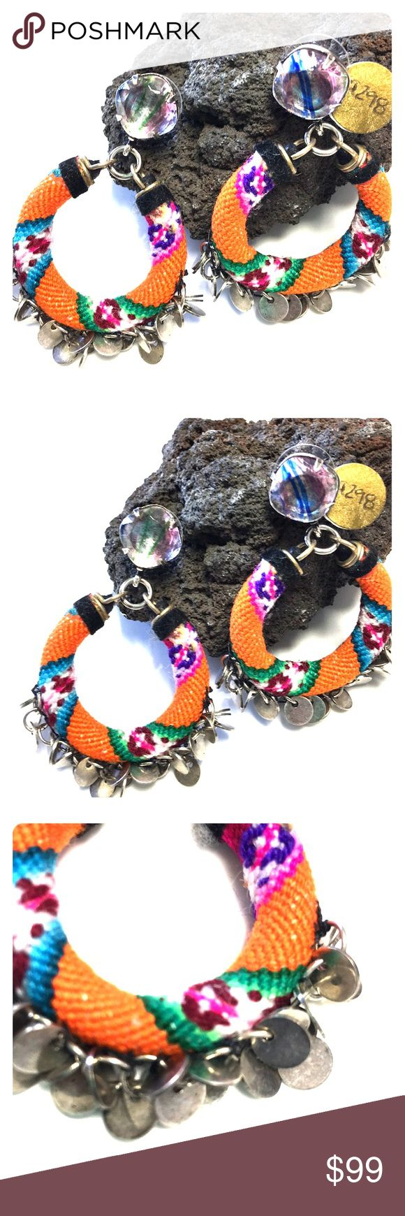 "Anthropologie Designer Fiesta Silver Hoop Earrings Store overstock; New with tags; Anthropologie Designer Fiesta Silver Hoop Earrings- 2"" in Length Anthropologie Jewelry Earrings"