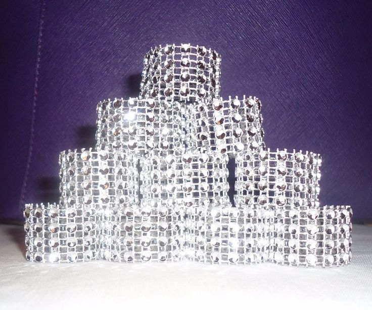 Silver Bling Rhinestone Napkin rings lot of 10 – 100, Bridal Shower Party Deco #Unbranded