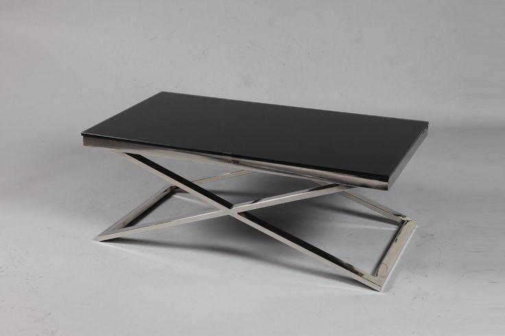 COFFEE TABLE WHITE TOP CHROME LEGS