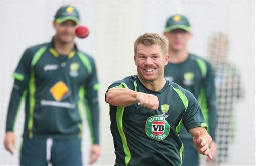 Happy Mood of Australian Cricketer David Warner in World Cup 2015 Wallpaper