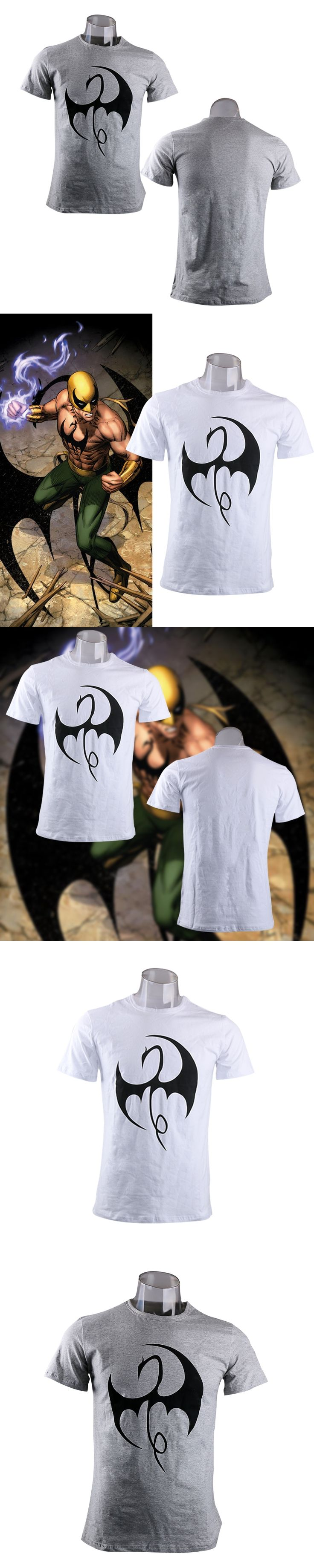 Mens Casual 2017 TV Series Iron Fist Daniel Rand Superhero Logo Cosplay O-Neck Printing Short Sleeve Cotton T-shirts Tee Shirts