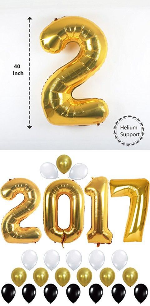 2017 Balloons Gold Decorations Banner with Gold Black and White Latex Balloon, Large Size, Perfect for Event,Bridal Wedding and Graduations Party Supplies
