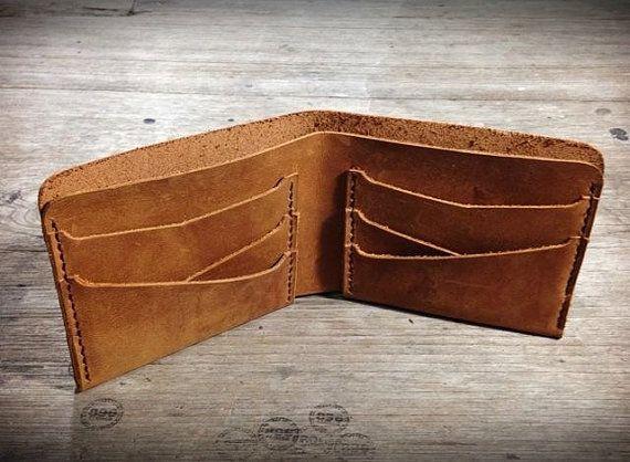 Tan oil leather wallet leather billfold men by 896LeatherShop
