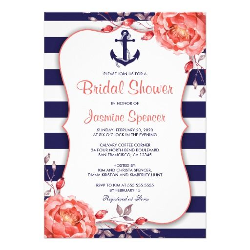 31 best nautical navy blue and coral stripe wedding invitation set nautical striped navy blue and coral bridal shower 5x7 paper invitation card filmwisefo Image collections