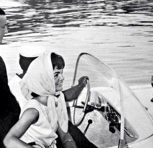 Jackie Onassis arrives in Mykonos, Greece