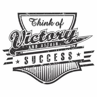 Vector graphic Think of Victory and attain sucess for t-shirt designs