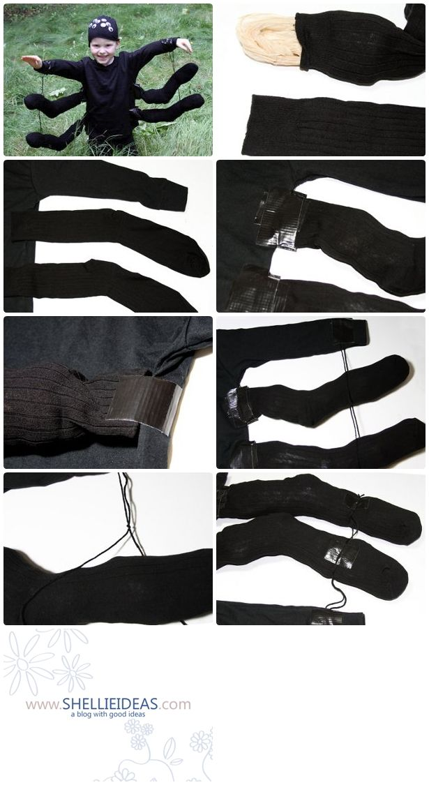 Materials: Black long-sleeved shirt Black stocking cap Black duct tape 2 pairs black socks (4 socks total) Black yarn 8 large wiggle eyes Plastic grocery bags (about 16) Scissors Glue dots