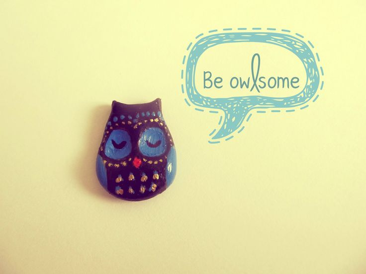 Be owlsome with this owl brooch made from polymer clay :)