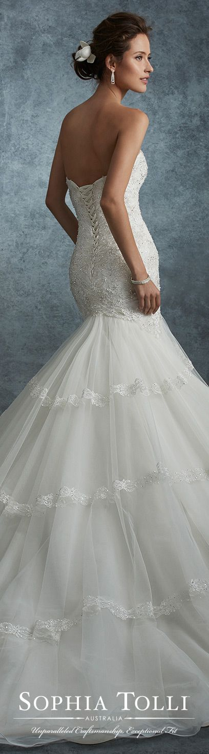 Strapless lace and tulle trumpet wedding dress sophia for Sophia tulle wedding dress