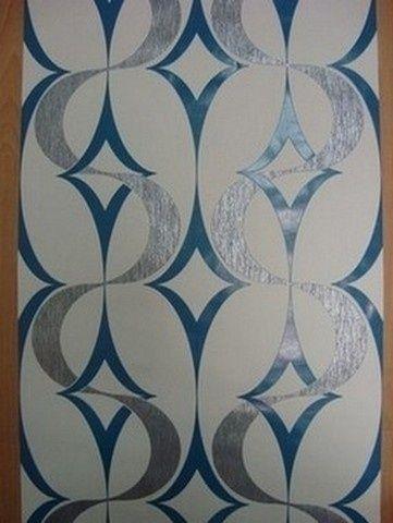 zilver blauw retro vlies behang 704501
