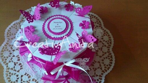 Hochzeitstorte 2-stöckig - PINK-WEISS mit Schmetterlingen
