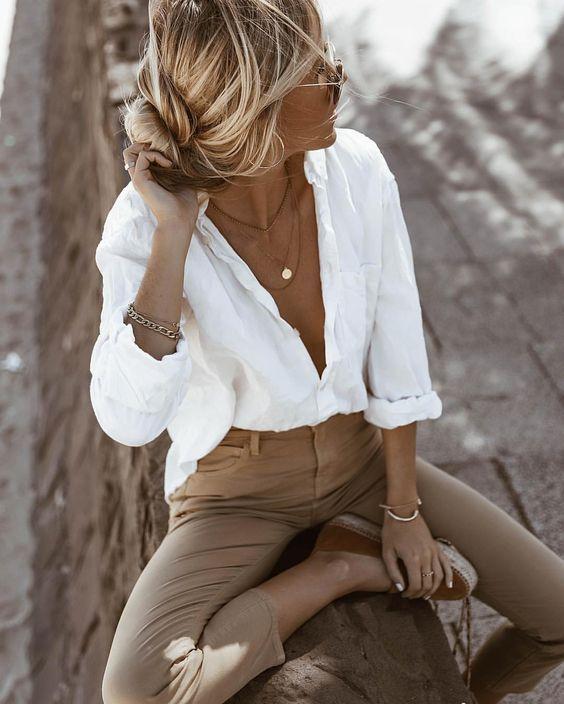 Het perfecte witte overhemd Sommeroutfit Frühlingsoutfit weißes Hemd inspo