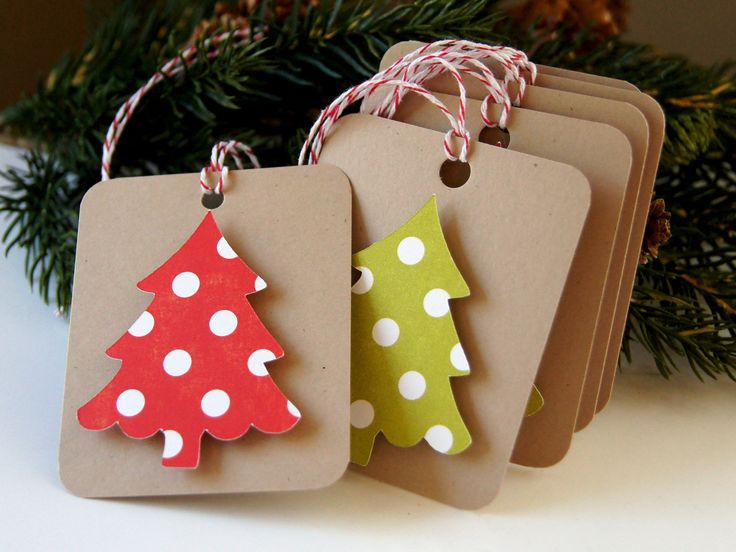 Dotty Tree on Kraft Christmas Tags or Package Labels (Qty. 6)