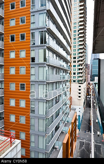 Urban canyon of high-rise living in Melbourne, Australia