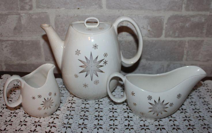 Shabby Atomic style tea set, Mid century Tea or coffee pot, creamer and gravy boat, gold star design by prettydish on Etsy