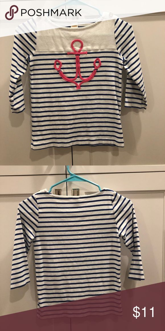 Anchor shirt Navy and white striped shirt Pink anchor on the front  2 little gold buttons on the top 3/4 length sleeve Gymboree Shirts & Tops Tees - Long Sleeve