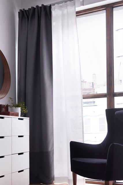 14 decorating tricks from the Ikea catalog. #8: Layer a sheer curtain behind a solid one for when you want more light sometimes, but privacy all the time.