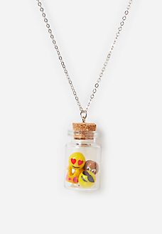 Bottle with Emojis Long Necklace
