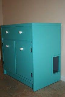 Hide litter box inside old chest or bureau