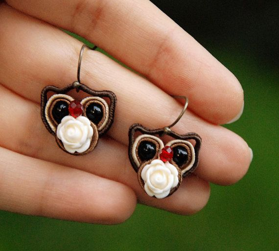 Miniature Owl Earrings, Animal totem, Woodland animal jewelry, Ethnic soutache, Tiny forest bird, Fiber embroidery, Brown red, White flower