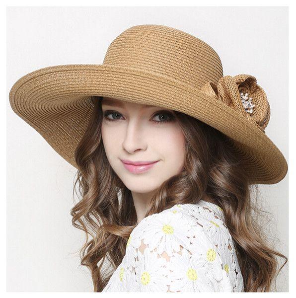 Ladies flower straw hat for summer wide brim sun hats UV protection