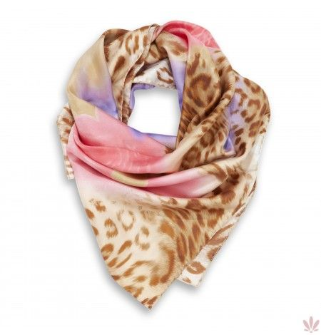 Leopard Pink Garden Square Scarf. Luxury high quality made in Italy by Fulards free shipping.