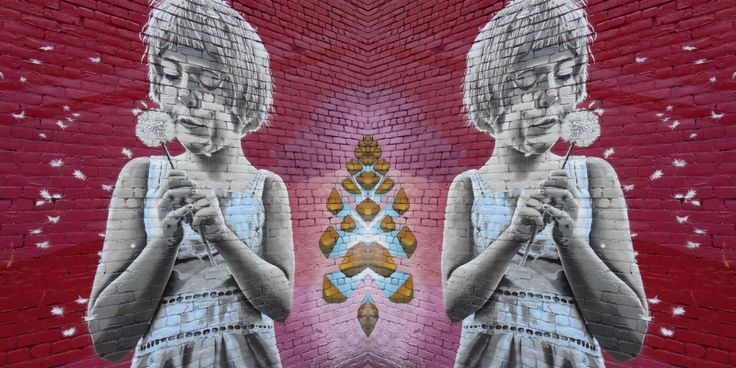 Manipulated photo of wall mural in Gastown, Vancouver