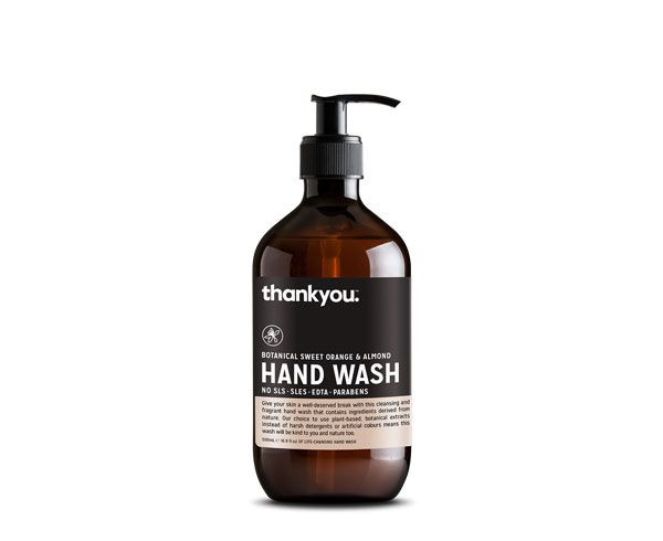Thankyou 500mL Sweet Orange & Almond Body Wash. Free from parabens, SLS, SLES, EDTA and harsh chemicals (RRP $6.99)