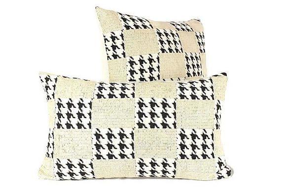 Houndstooh Lumbar Black White and Cream Pillow Cover Hounds