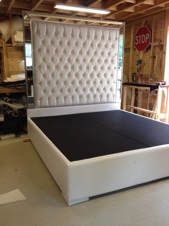 White Faux Leather King Size Bed Tufted Upholstered Bed Platform Bed With Mirrors Headboard Extra Tall