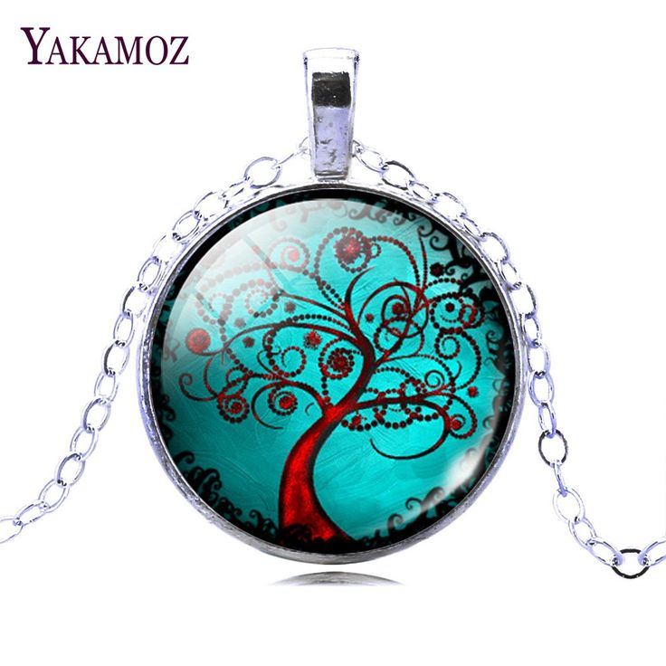 Romantic Style Art Tree Jewelry Fashion Life Tree Pendant Necklace For Female Glass Cabochon Fine Summer Jewelry Christmas Gift //Price: $1.19 & FREE Shipping //     #hashtag1