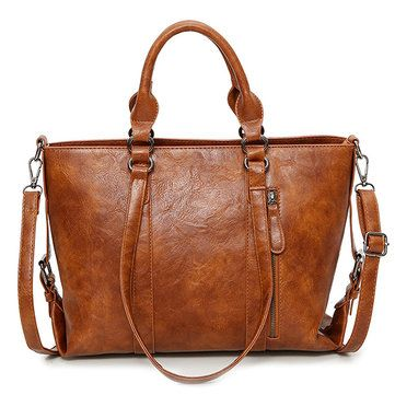 Hot-sale designer Women PU Leather Retro Handbags Large Capacity Shoulder Bags Tote Bags Online - NewChic Mobile