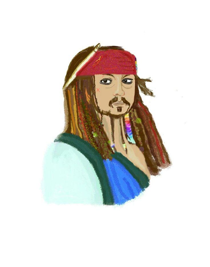 Captain Jack Sparrow made by Picsart Color #johnnydepp #drawing #illustration #fanart #piratesofthecaribbean #digitalart