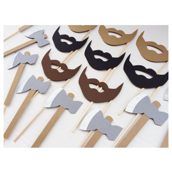 Lumberjack Photo Booth Props ; Bachelorette Party Props ; Ax and Beards ; Beard Birthday Party Props Lets Get Decorative
