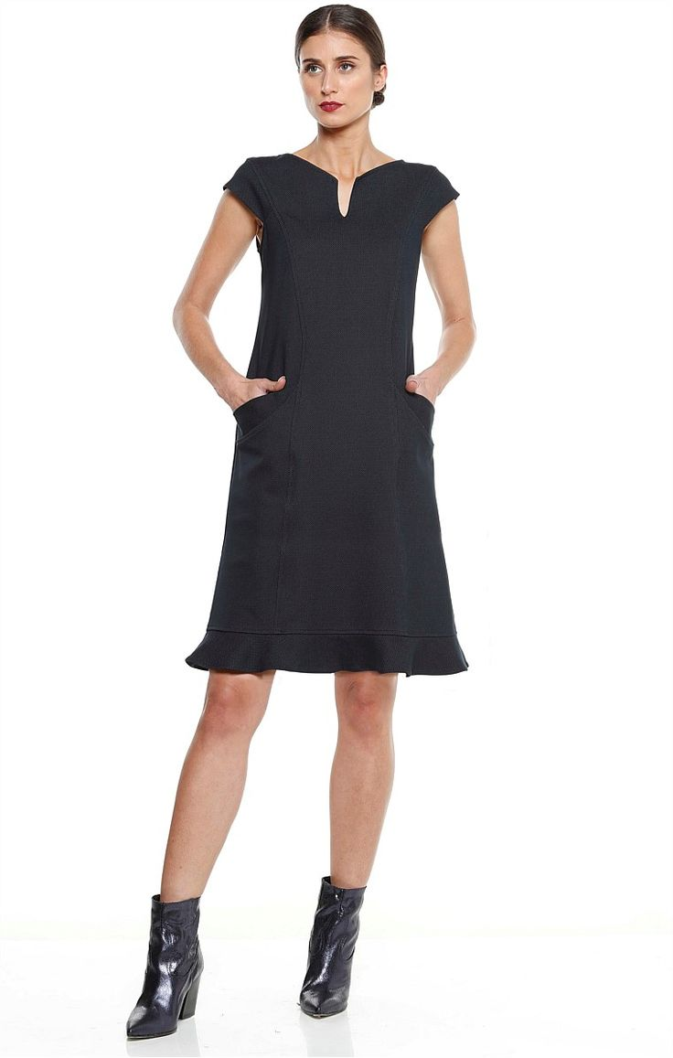 DI SANTO PONTI FRILL HEM CAP SLEEVE TUNIC DRESS IN NAVY
